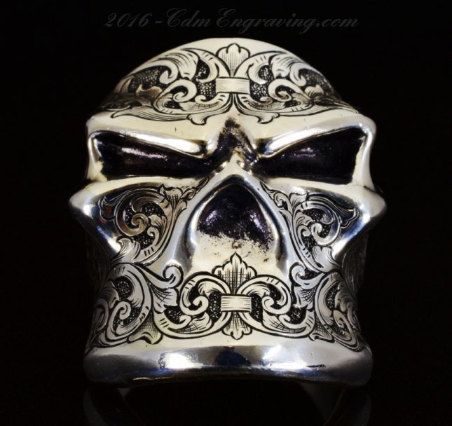 starlingear engraved skull ring