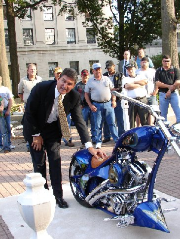 Governor Joe Manchin III unvieling the WV Theme Chopper