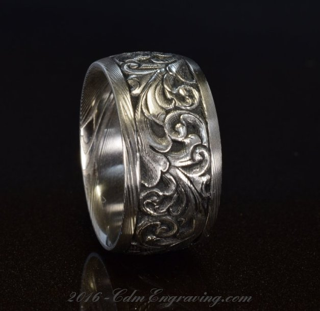 12mm engraved damascus wedding band