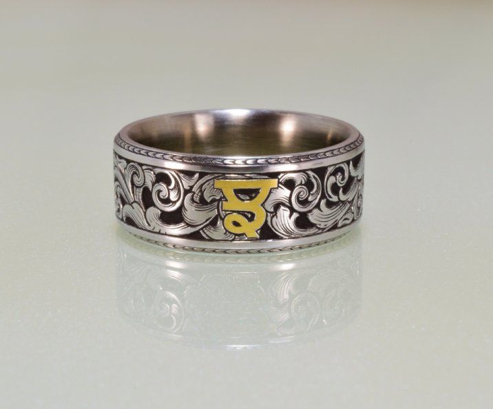 Hand engraved, 9mm wedding band with 22k punjabi monogram