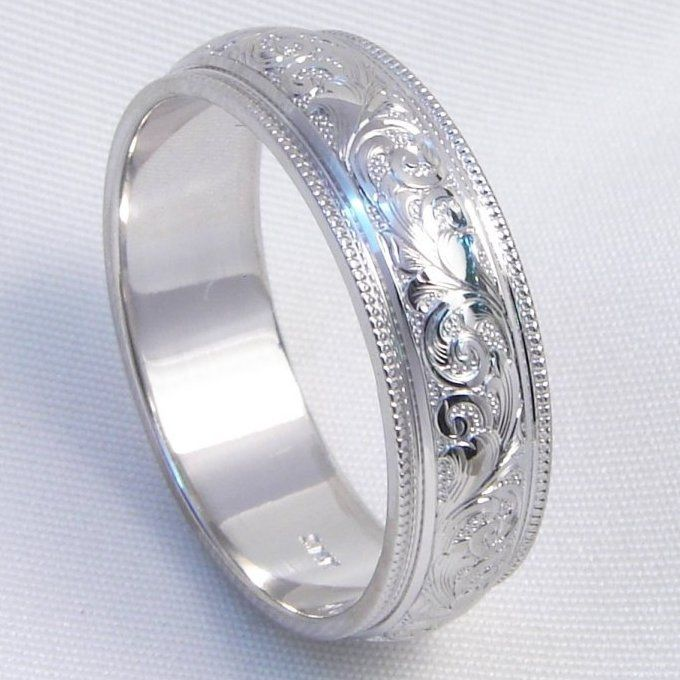 Hand engraved wedding band in 14k white gold