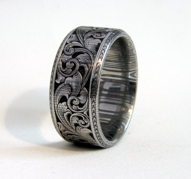 12mm damascus pipe cut with engraved beveled edges 12mm damascus pipe cut with engraved beveled edges - Damascus Wedding Ring