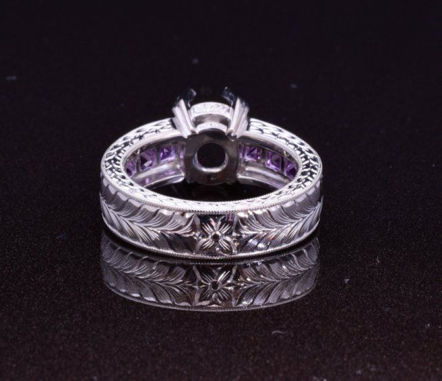 Purple spinel, sapphires and hand engraved platinum ring