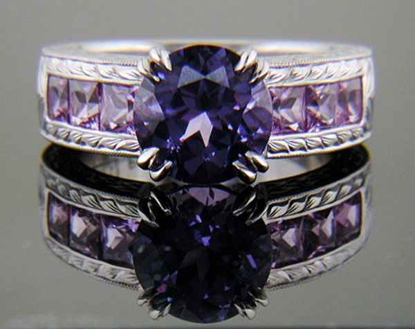 Purple spinel, sapphies in hand engraved platinum ring