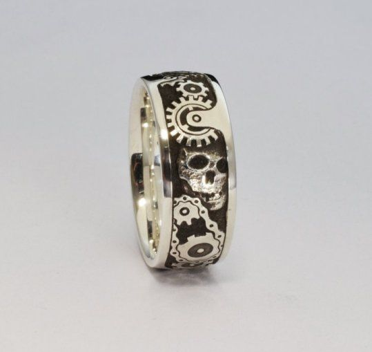 Hand engraved steampunk ring