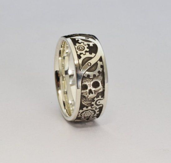 hand engraved steampunk wedding ring - Steampunk Wedding Rings