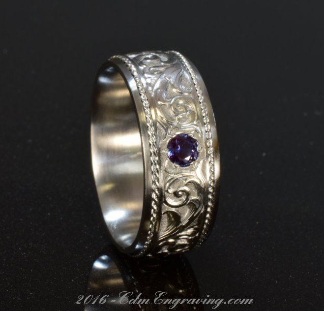 Hand engraved wedding band in titanium and platinum rope with alexandrite