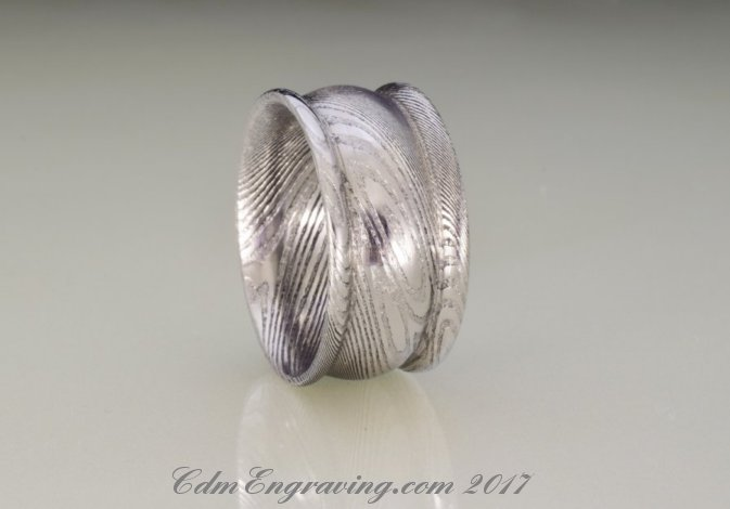12mm wide damascus rimmed ring