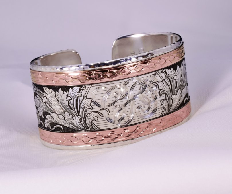 Hand Engraved Argentium and 14K Rose Gold Wide Cuff Bracelet