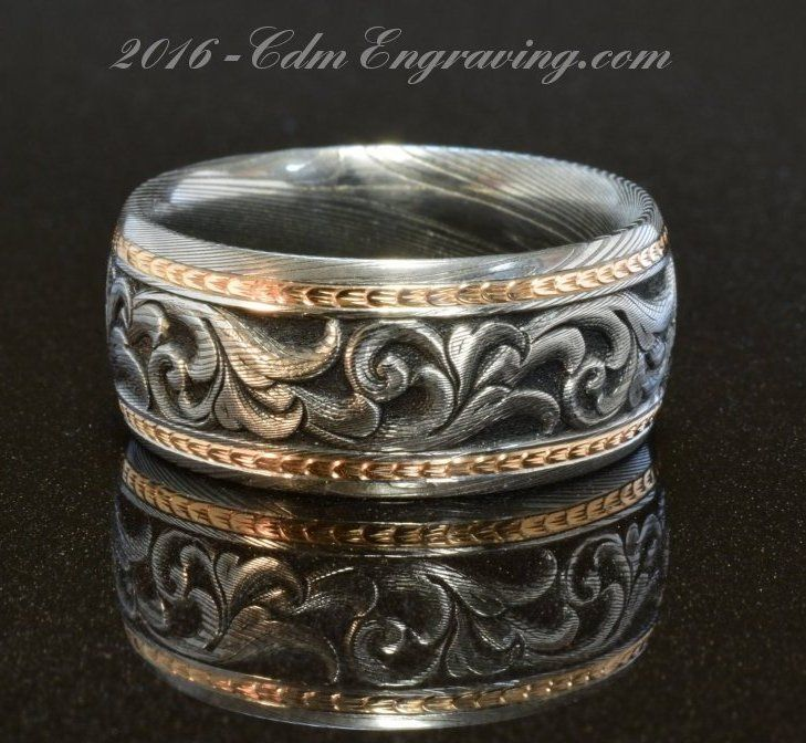 Damascus And 18k Rose Gold Wedding Band